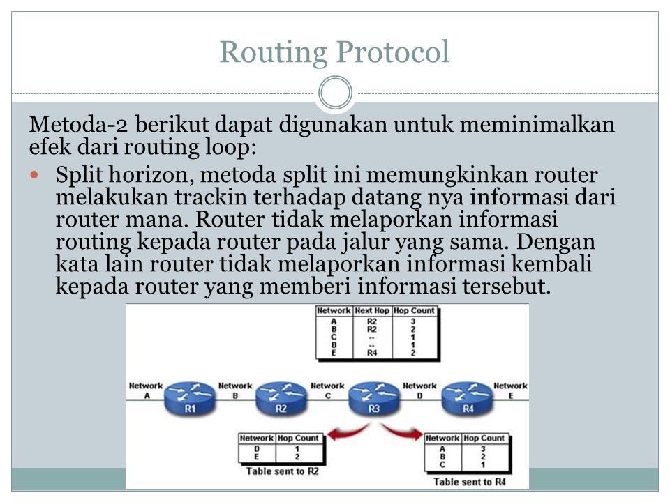 Routing Protocol Metoda-2 berikut dapat digunakan untuk meminimalkan efek dari routing loop:  Split horizon, metoda split ini memungkinkan router mel