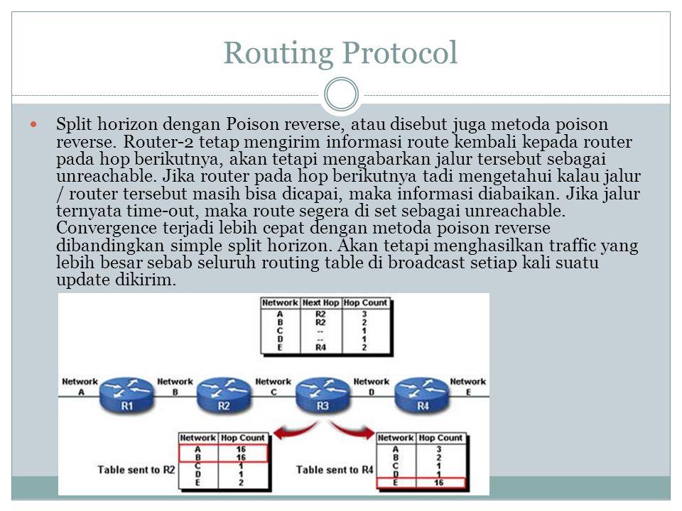 Routing Protocol  Split horizon dengan Poison reverse, atau disebut juga metoda poison reverse. Router-2 tetap mengirim informasi route kembali kepad