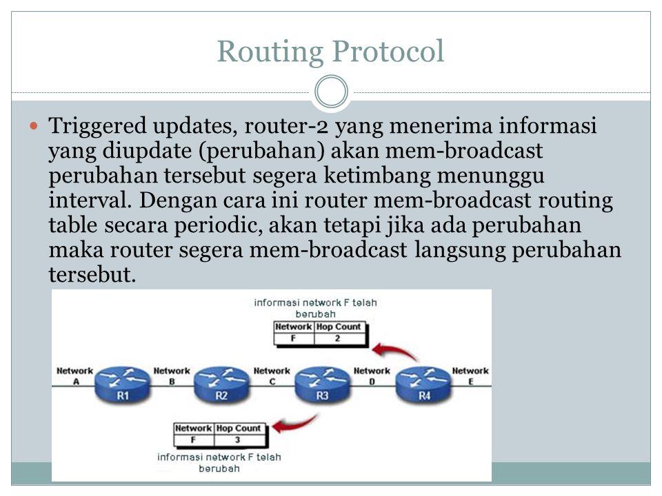 Routing Protocol  Triggered updates, router-2 yang menerima informasi yang diupdate (perubahan) akan mem-broadcast perubahan tersebut segera ketimban