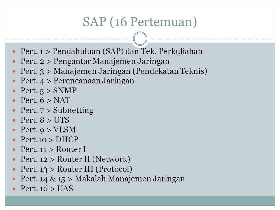 SAP (16 Pertemuan)  Pert. 1 > Pendahuluan (SAP) dan Tek. Perkuliahan  Pert. 2 > Pengantar Manajemen Jaringan  Pert. 3 > Manajemen Jaringan (Pendeka