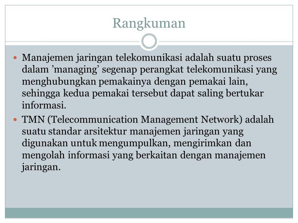 Rangkuman  Manajemen jaringan telekomunikasi adalah suatu proses dalam 'managing' segenap perangkat telekomunikasi yang menghubungkan pemakainya deng