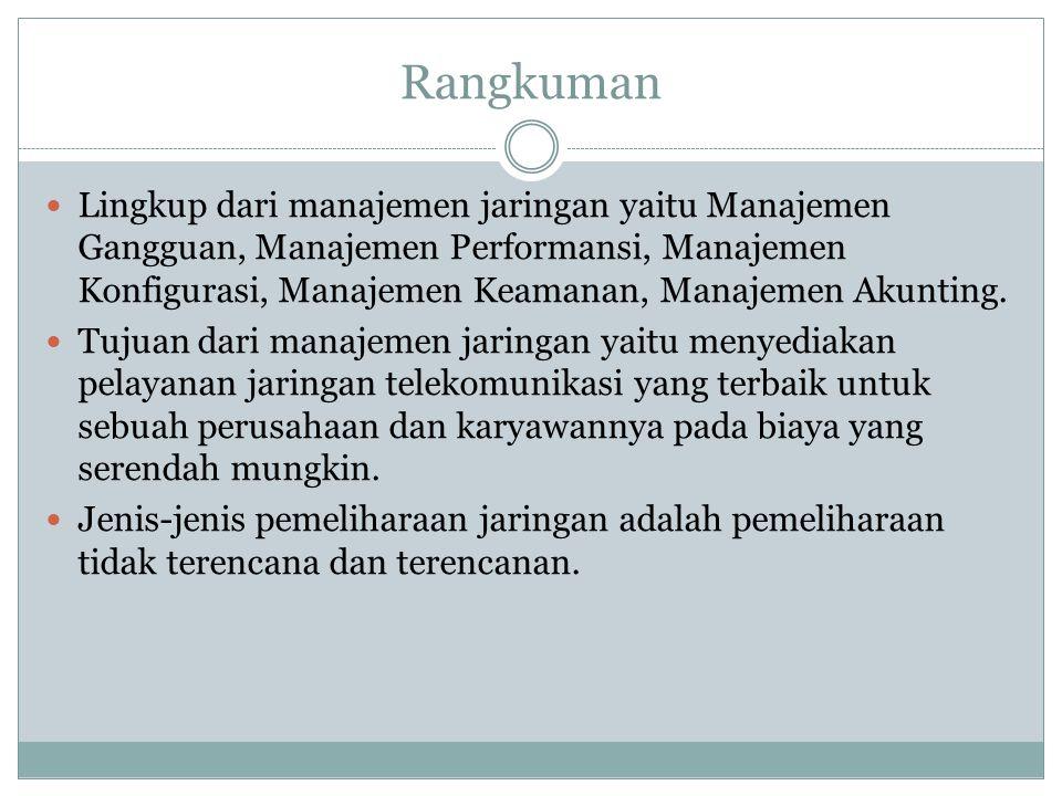 Rangkuman  Lingkup dari manajemen jaringan yaitu Manajemen Gangguan, Manajemen Performansi, Manajemen Konfigurasi, Manajemen Keamanan, Manajemen Akun
