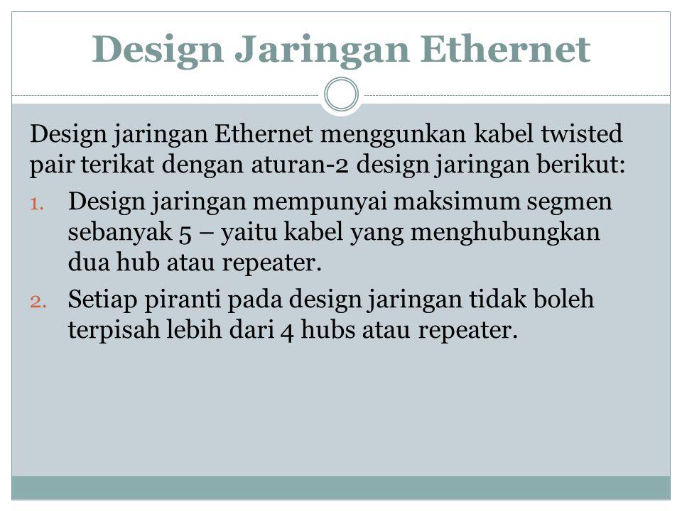 Design Jaringan Ethernet Design jaringan Ethernet menggunkan kabel twisted pair terikat dengan aturan-2 design jaringan berikut: 1. Design jaringan me