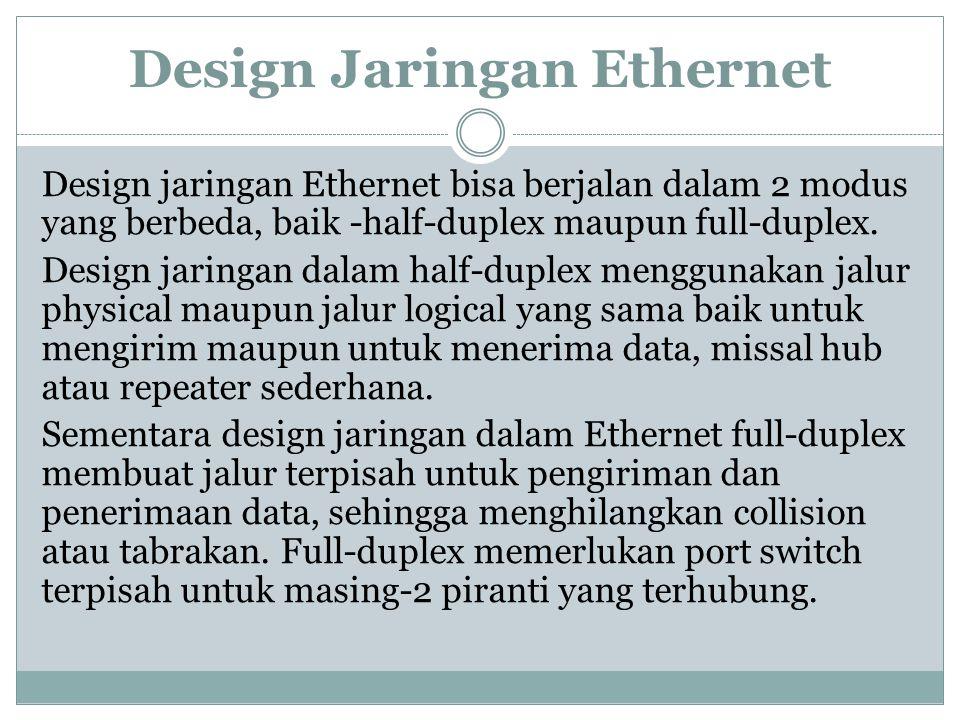 Design Jaringan Ethernet Design jaringan Ethernet bisa berjalan dalam 2 modus yang berbeda, baik -half-duplex maupun full-duplex. Design jaringan dala