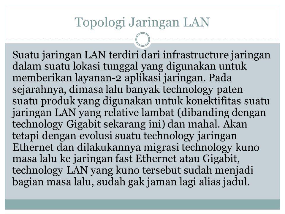 Topologi Jaringan LAN Suatu jaringan LAN terdiri dari infrastructure jaringan dalam suatu lokasi tunggal yang digunakan untuk memberikan layanan-2 apl