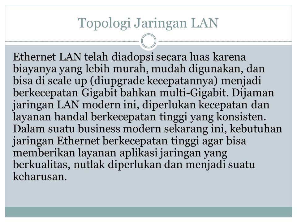 Topologi Jaringan LAN Ethernet LAN telah diadopsi secara luas karena biayanya yang lebih murah, mudah digunakan, dan bisa di scale up (diupgrade kecep