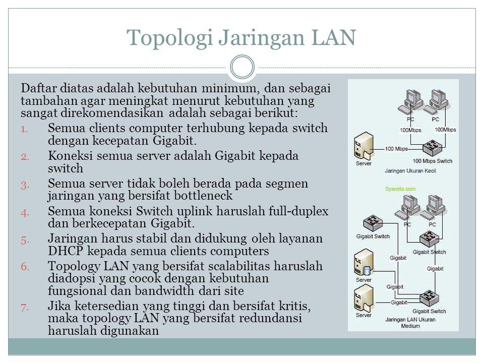 Topologi Jaringan LAN Daftar diatas adalah kebutuhan minimum, dan sebagai tambahan agar meningkat menurut kebutuhan yang sangat direkomendasikan adala
