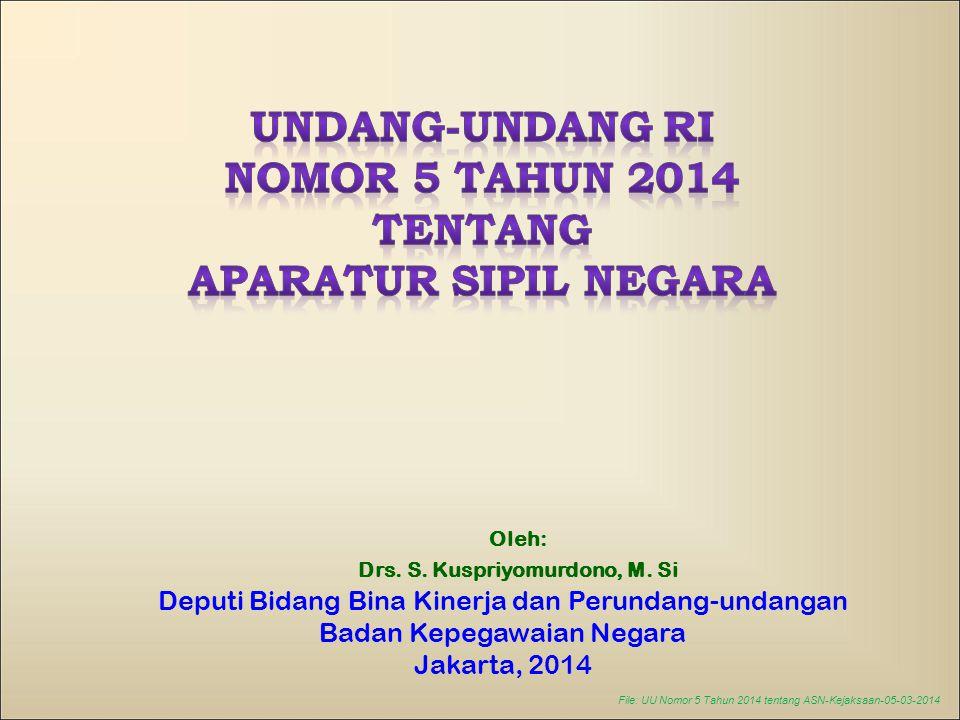 File: UU Nomor 5 Tahun 2014 tentang ASN-Kejaksaan-05-03-2014 Oleh: Drs. S. Kuspriyomurdono, M. Si Deputi Bidang Bina Kinerja dan Perundang-undangan Ba