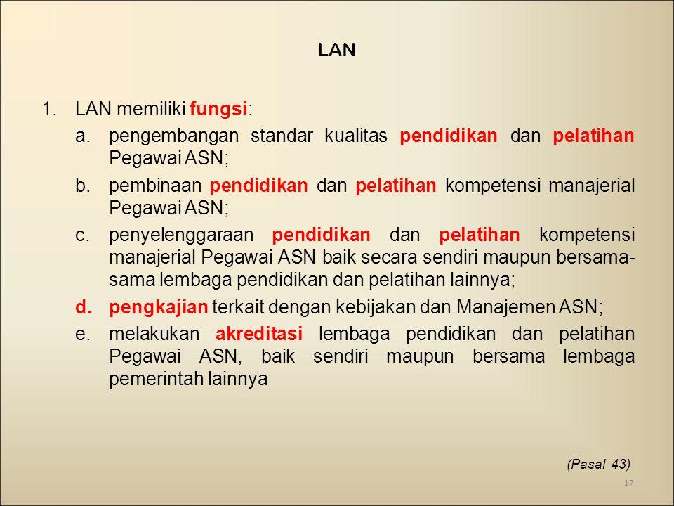 1.LAN memiliki fungsi: a.pengembangan standar kualitas pendidikan dan pelatihan Pegawai ASN; b.pembinaan pendidikan dan pelatihan kompetensi manajeria