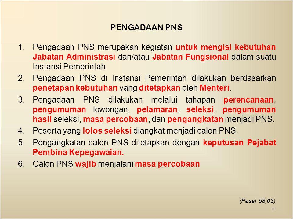PENGADAAN PNS 1.Pengadaan PNS merupakan kegiatan untuk mengisi kebutuhan Jabatan Administrasi dan/atau Jabatan Fungsional dalam suatu Instansi Pemerintah.