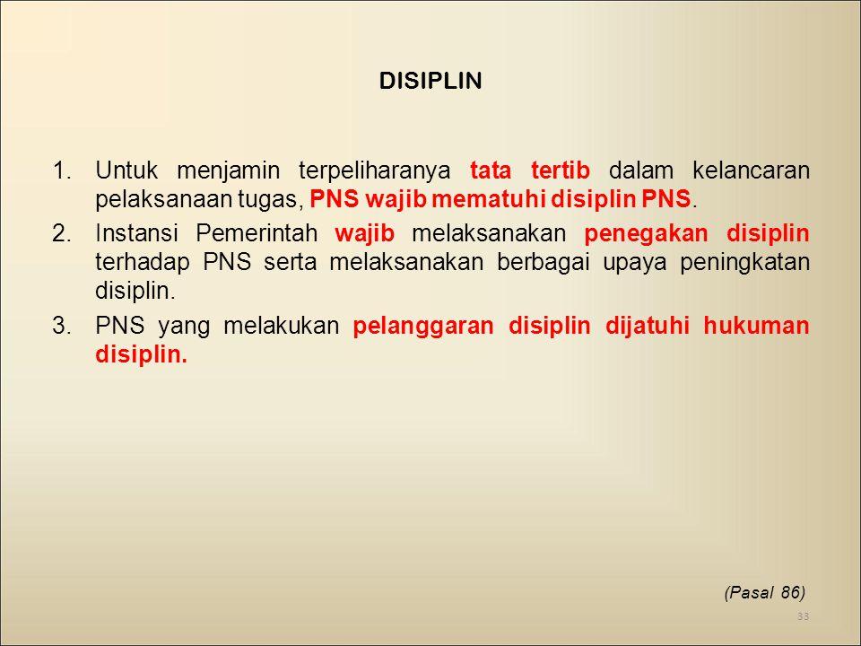 1.Untuk menjamin terpeliharanya tata tertib dalam kelancaran pelaksanaan tugas, PNS wajib mematuhi disiplin PNS.