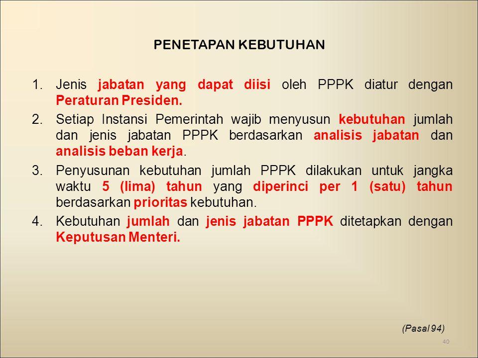 1.Jenis jabatan yang dapat diisi oleh PPPK diatur dengan Peraturan Presiden.