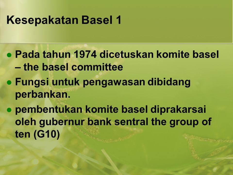 Kesepakatan Basel 1  Pada tahun 1974 dicetuskan komite basel – the basel committee  Fungsi untuk pengawasan dibidang perbankan.  pembentukan komite