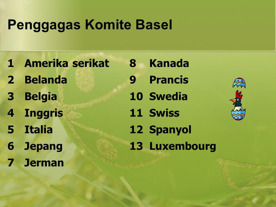 Penggagas Komite Basel 1Amerika serikat8Kanada 2Belanda9Prancis 3Belgia10Swedia 4Inggris11Swiss 5Italia12Spanyol 6Jepang13Luxembourg 7Jerman