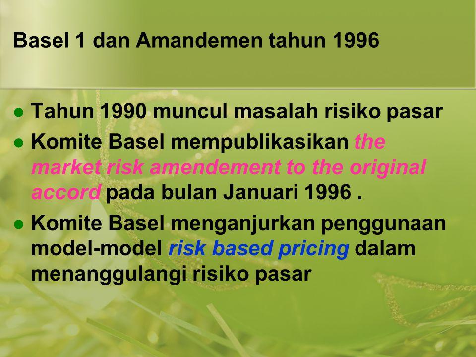 Basel 1 dan Amandemen tahun 1996  Tahun 1990 muncul masalah risiko pasar  Komite Basel mempublikasikan the market risk amendement to the original ac