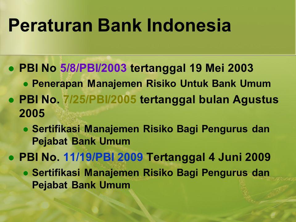 Peraturan Bank Indonesia  PBI No 5/8/PBI/2003 tertanggal 19 Mei 2003  Penerapan Manajemen Risiko Untuk Bank Umum  PBI No. 7/25/PBI/2005 tertanggal
