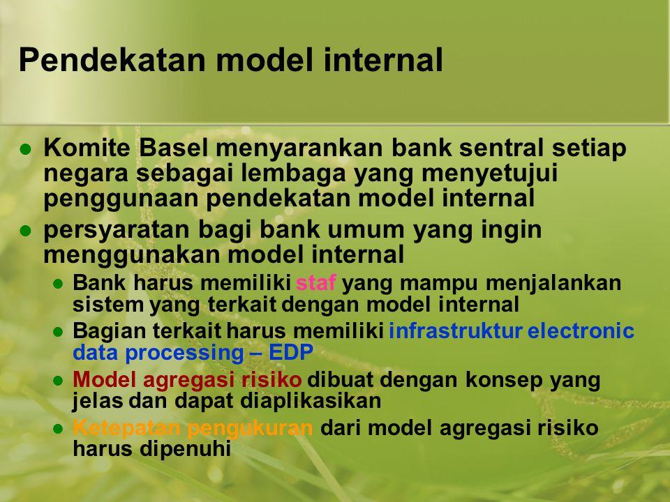 Pendekatan model internal  Komite Basel menyarankan bank sentral setiap negara sebagai lembaga yang menyetujui penggunaan pendekatan model internal 