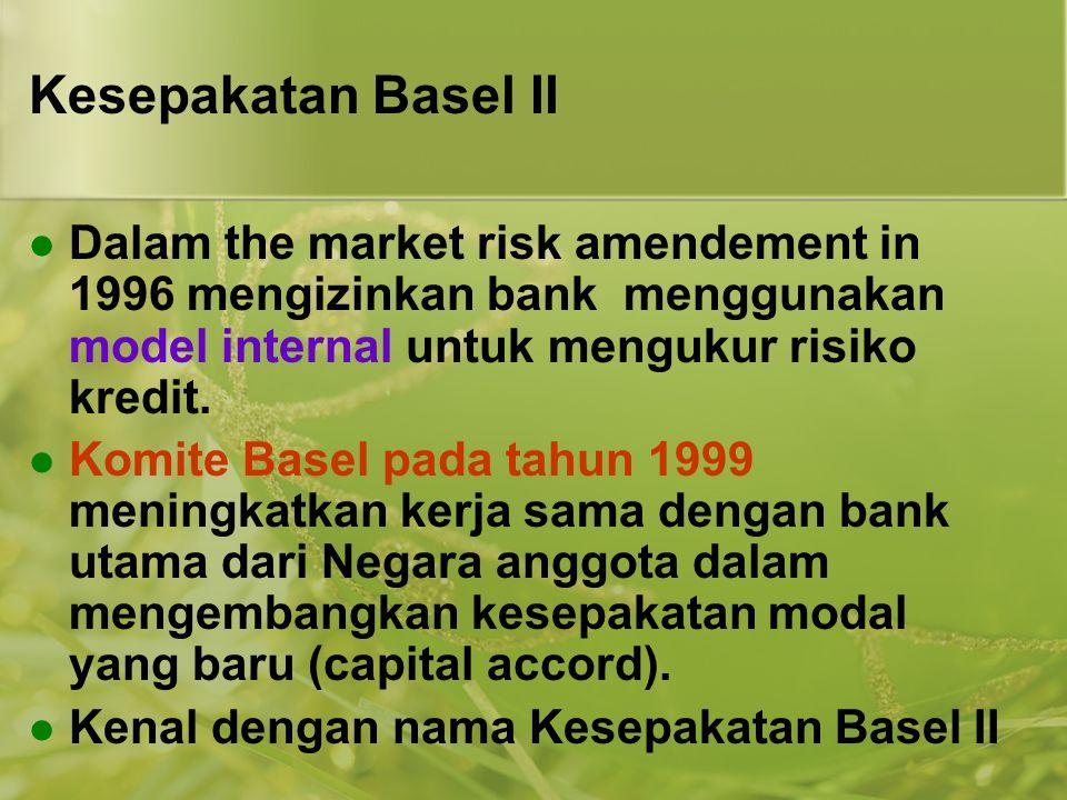Kesepakatan Basel II  Dalam the market risk amendement in 1996 mengizinkan bank menggunakan model internal untuk mengukur risiko kredit.  Komite Bas
