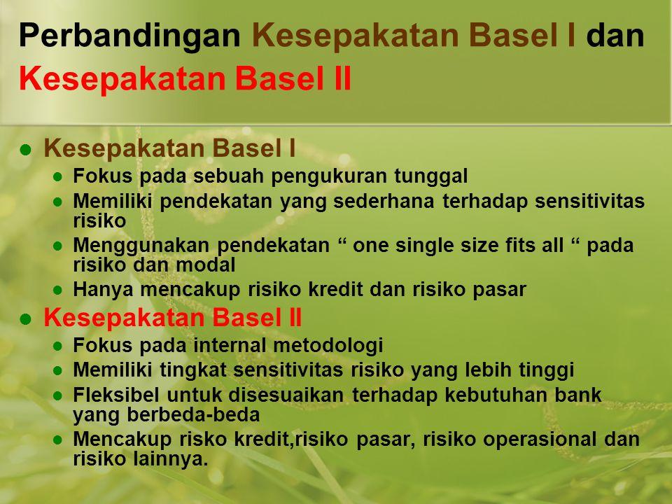 Perbandingan Kesepakatan Basel I dan Kesepakatan Basel II  Kesepakatan Basel I  Fokus pada sebuah pengukuran tunggal  Memiliki pendekatan yang sede