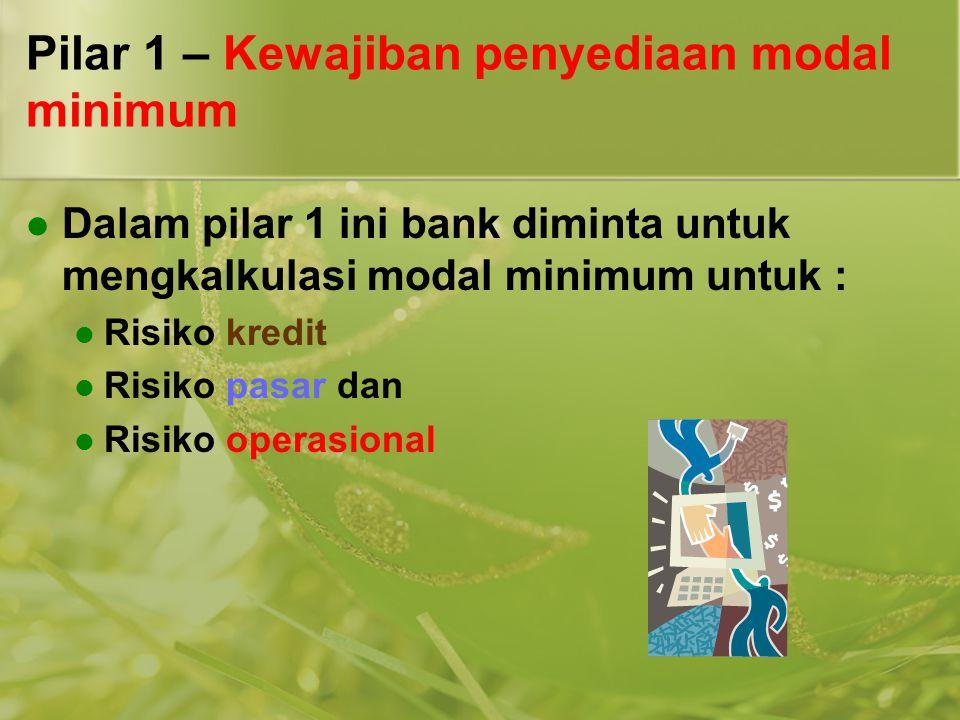 Pilar 1 – Kewajiban penyediaan modal minimum  Dalam pilar 1 ini bank diminta untuk mengkalkulasi modal minimum untuk :  Risiko kredit  Risiko pasar