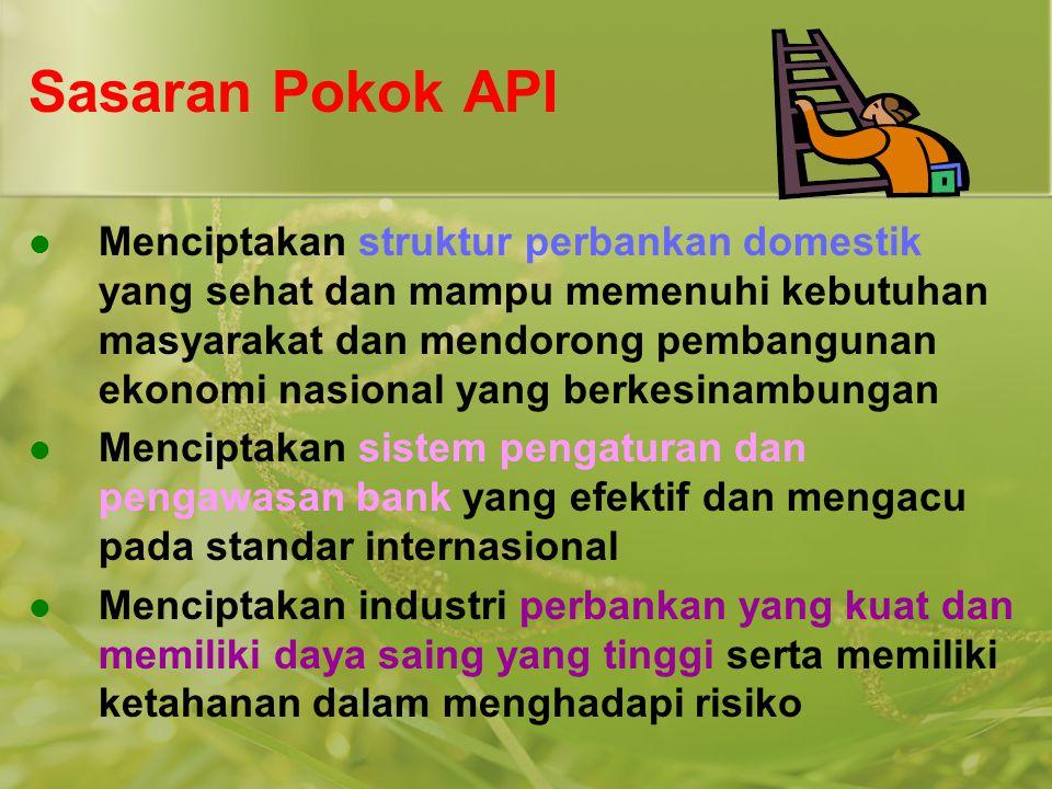 Sasaran Pokok API  Menciptakan struktur perbankan domestik yang sehat dan mampu memenuhi kebutuhan masyarakat dan mendorong pembangunan ekonomi nasio