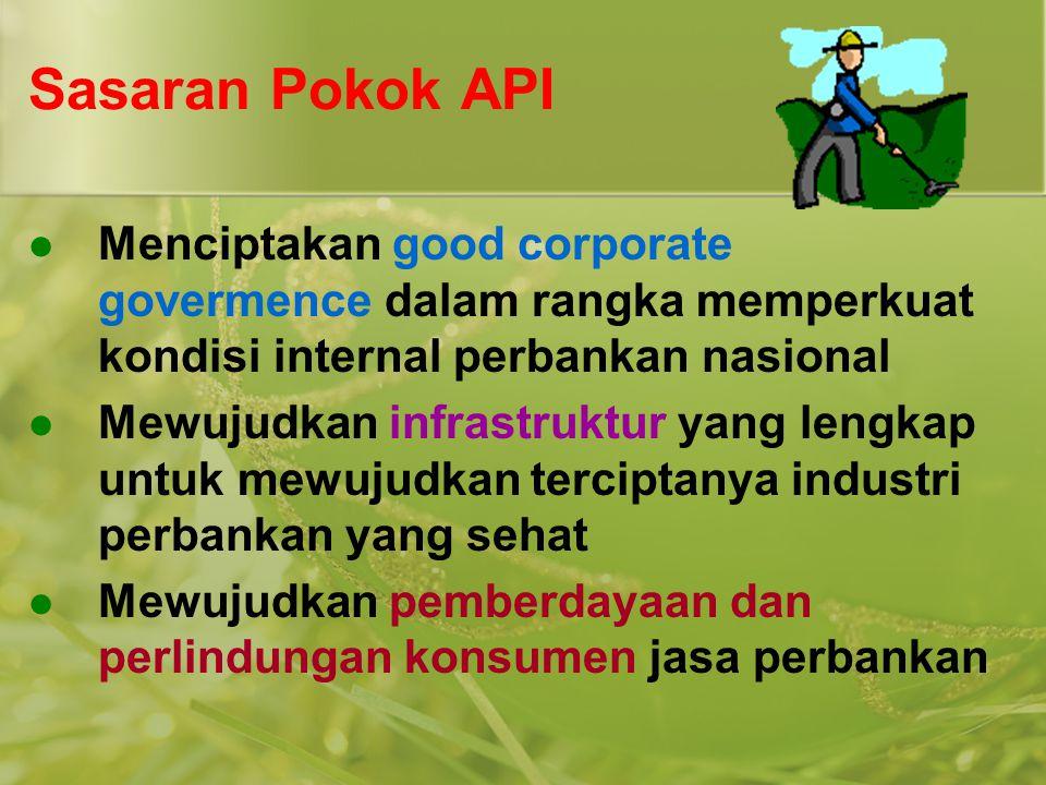 Sasaran Pokok API  Menciptakan good corporate govermence dalam rangka memperkuat kondisi internal perbankan nasional  Mewujudkan infrastruktur yang