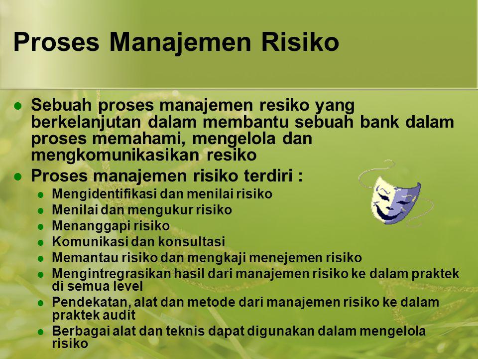 Proses Manajemen Risiko  Sebuah proses manajemen resiko yang berkelanjutan dalam membantu sebuah bank dalam proses memahami, mengelola dan mengkomuni