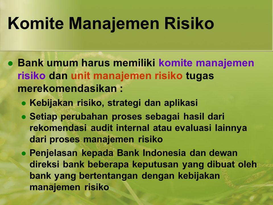 Komite Manajemen Risiko  Bank umum harus memiliki komite manajemen risiko dan unit manajemen risiko tugas merekomendasikan :  Kebijakan risiko, stra