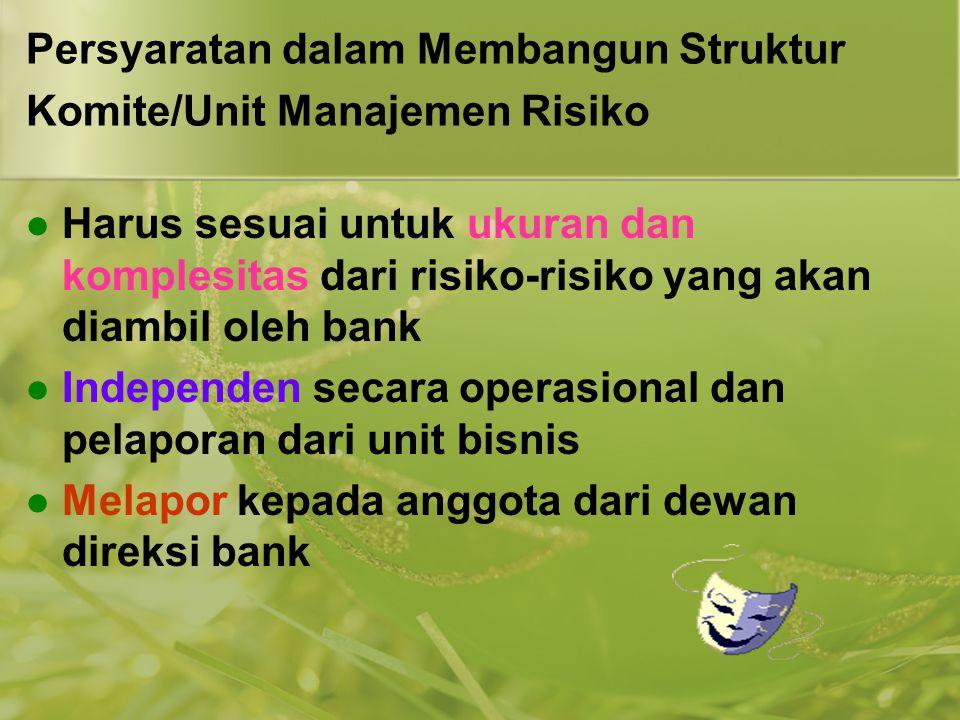 Persyaratan dalam Membangun Struktur Komite/Unit Manajemen Risiko  Harus sesuai untuk ukuran dan komplesitas dari risiko-risiko yang akan diambil ole
