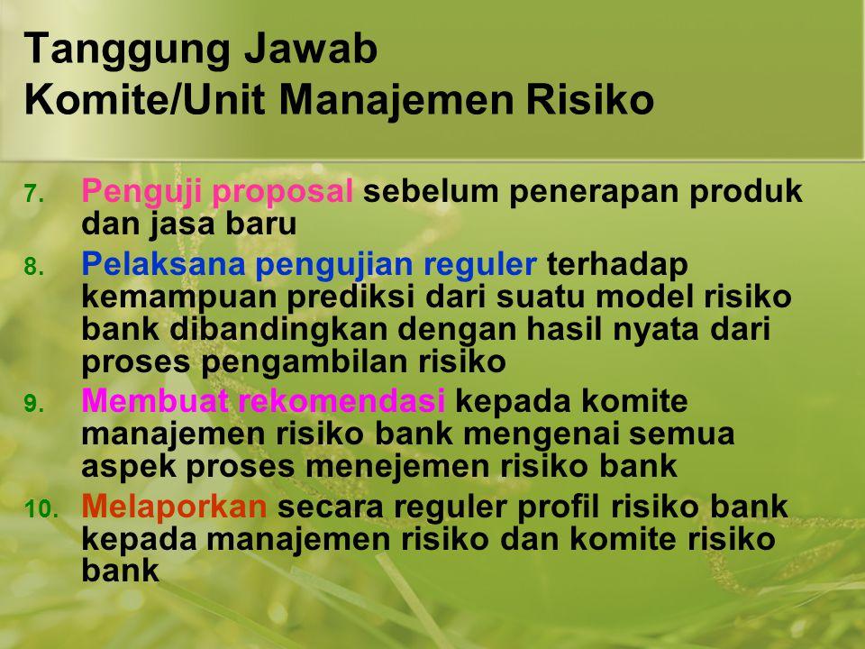 Tanggung Jawab Komite/Unit Manajemen Risiko 7. Penguji proposal sebelum penerapan produk dan jasa baru 8. Pelaksana pengujian reguler terhadap kemampu