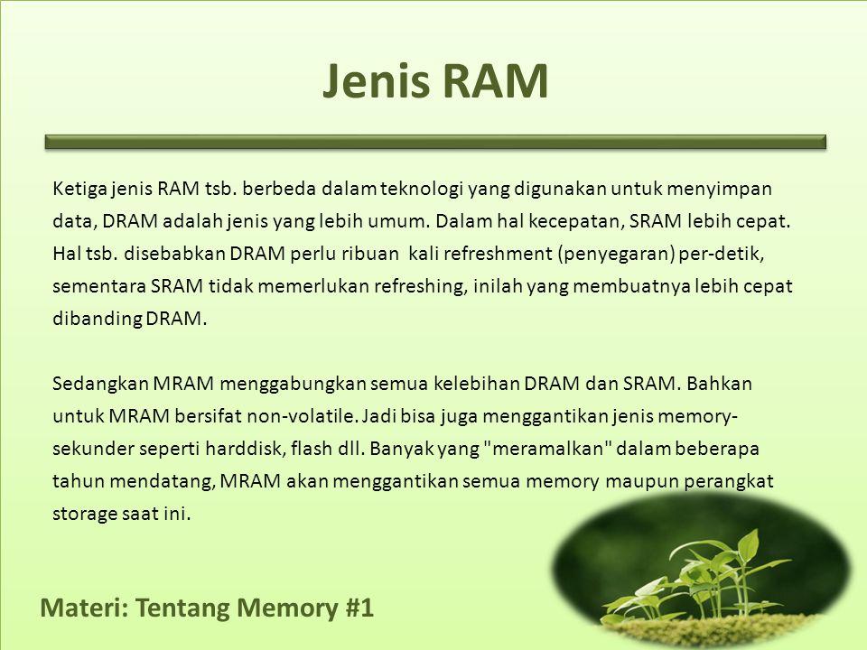 Materi: Tentang Memory #1 Ketiga jenis RAM tsb.