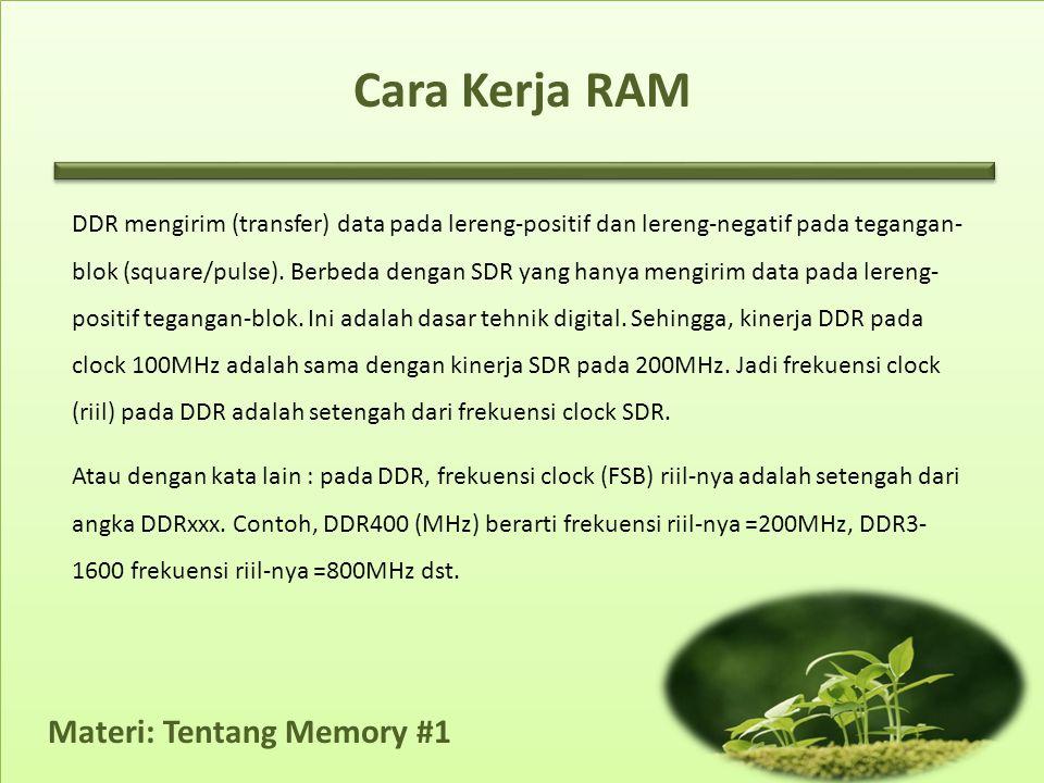 Materi: Tentang Memory #1 Cara Kerja RAM DDR mengirim (transfer) data pada lereng-positif dan lereng-negatif pada tegangan- blok (square/pulse).