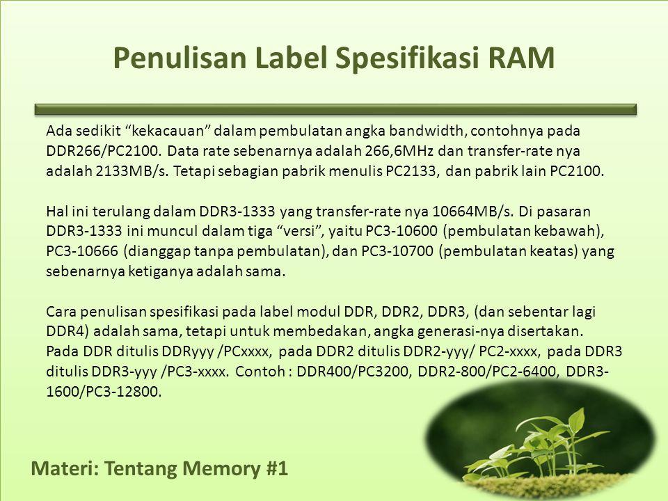 Penulisan Label Spesifikasi RAM Ada sedikit kekacauan dalam pembulatan angka bandwidth, contohnya pada DDR266/PC2100.