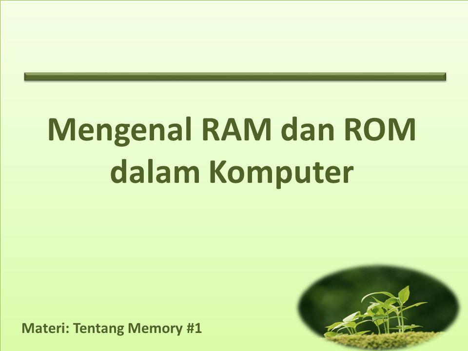 Materi: Tentang Memory #1 Mengenal RAM dan ROM dalam Komputer