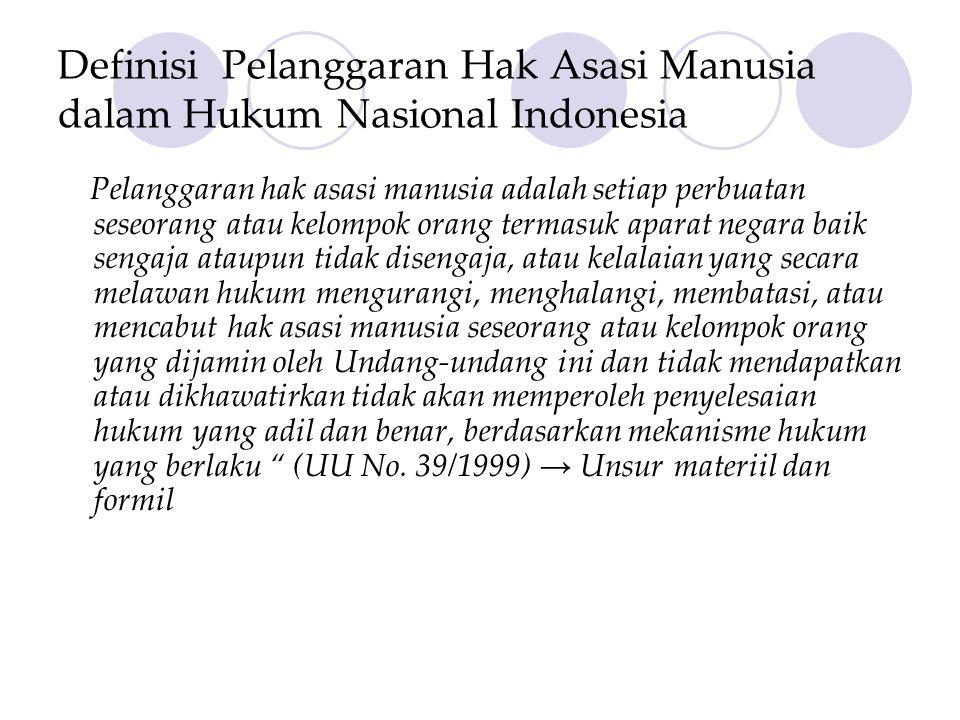 Definisi Pelanggaran Hak Asasi Manusia dalam Hukum Nasional Indonesia Pelanggaran hak asasi manusia adalah setiap perbuatan seseorang atau kelompok or
