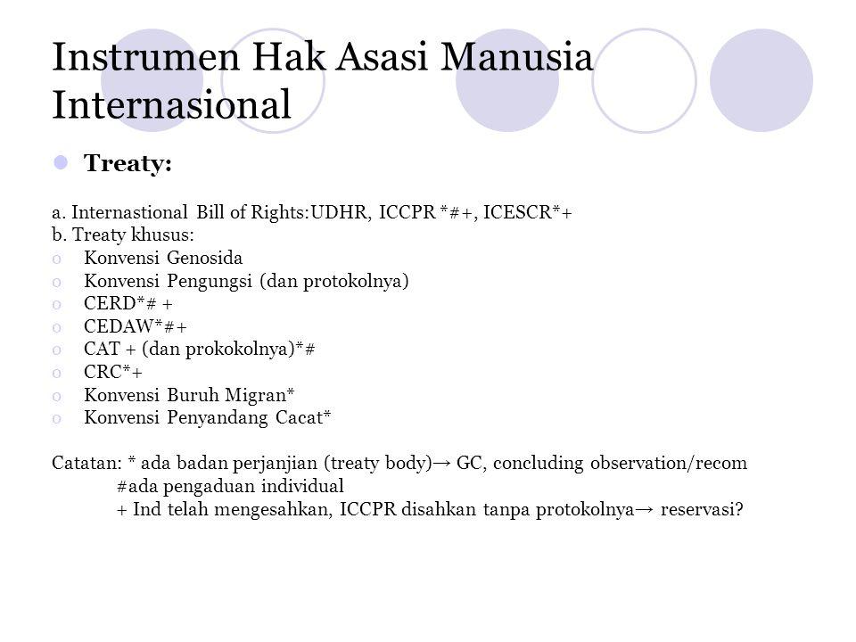 Instrumen Hak Asasi Manusia Internasional  Treaty: a. Internastional Bill of Rights:UDHR, ICCPR *#+, ICESCR*+ b. Treaty khusus: oKonvensi Genosida oK