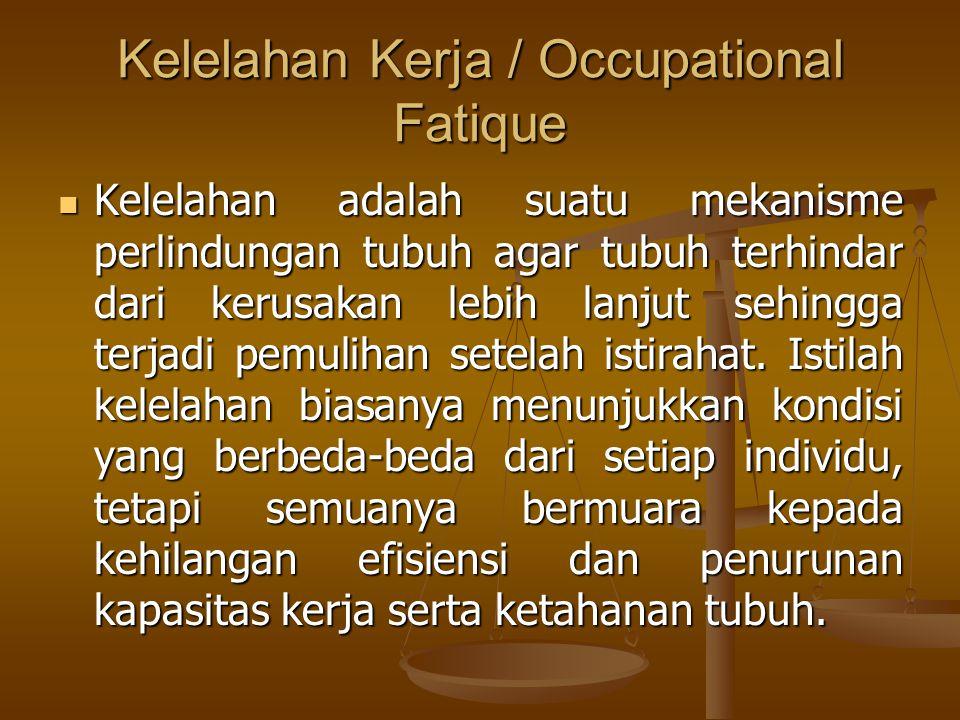 Kelelahan Kerja / Occupational Fatique  Kelelahan adalah suatu mekanisme perlindungan tubuh agar tubuh terhindar dari kerusakan lebih lanjut sehingga