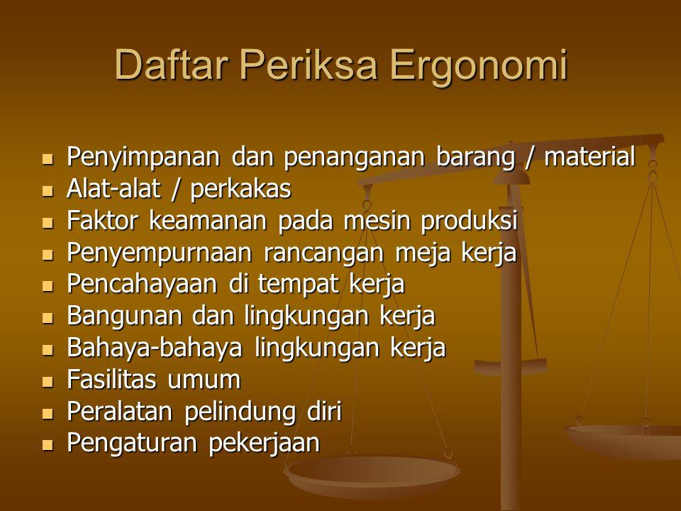 Berkaitan dengan bidang penyelidikan yang dilakukan, ergonomi dikelompokkan atas empat bidang penyelidikan, yaitu: 1.