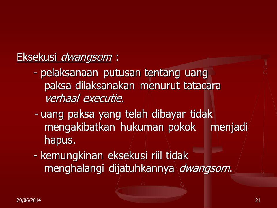 20/06/201420 b. d w a n g s o m (uang paksa) Pasal 606 a – 606 Rv - hukuman tambahan - hukuman tambahan - bersifat accessoir - bersifat accessoir - te