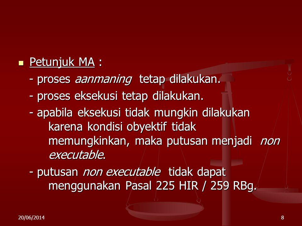 20/06/20147  Permasalahan Dalam Eksekusi Riil : - melakukan sesuatu perbuatan atau tidak melakukan sesuatu perbuatan - melakukan sesuatu perbuatan at