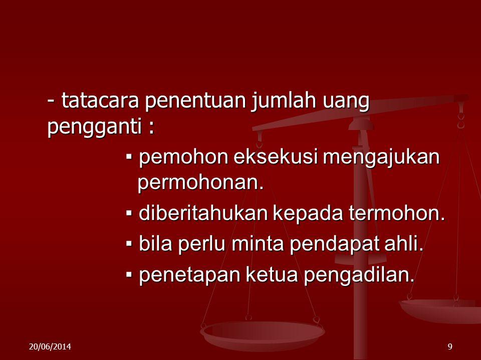 20/06/20148 PPPPetunjuk MA : - proses aanmaning tetap dilakukan. - proses eksekusi tetap dilakukan. - apabila eksekusi tidak mungkin dilakukan kar