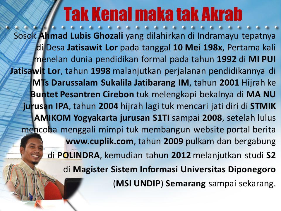 Tak Kenal maka tak Akrab Sosok Ahmad Lubis Ghozali yang dilahirkan di Indramayu tepatnya di Desa Jatisawit Lor pada tanggal 10 Mei 198x, Pertama kali