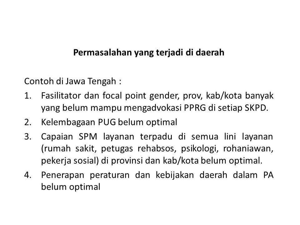 Permasalahan yang terjadi di daerah Contoh di Jawa Tengah : 1.Fasilitator dan focal point gender, prov, kab/kota banyak yang belum mampu mengadvokasi