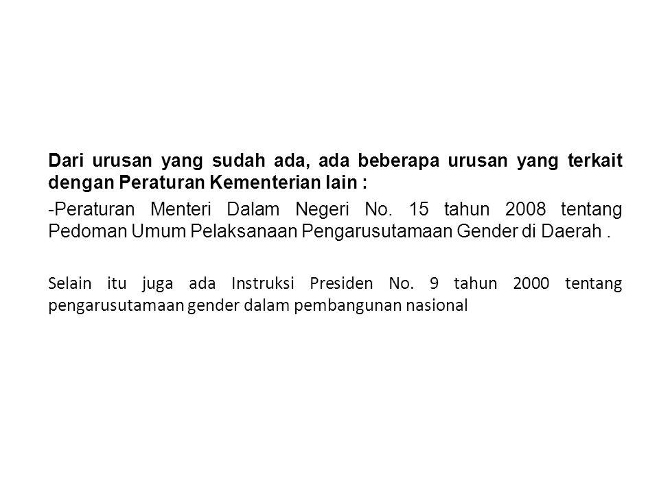 Dari urusan yang sudah ada, ada beberapa urusan yang terkait dengan Peraturan Kementerian lain : -Peraturan Menteri Dalam Negeri No. 15 tahun 2008 ten