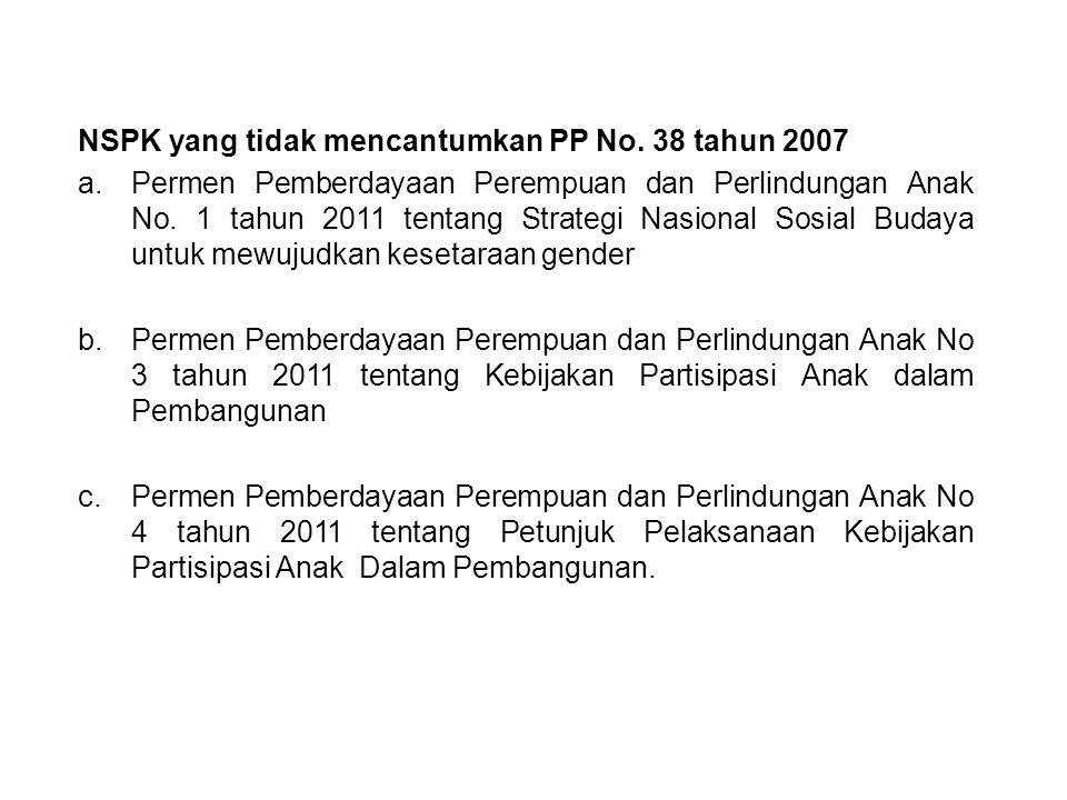 No.Sub BidangSub-sub bidangNSPK 1.Pengarusutamaan Gender (PUG) 1.Kebijakan Pelaksanaan PUG 2.Kelembagaan PUG 3.Pelaksanaan PUG 2.Kualitas Hidup dan Perlindungan Perempuan 1.Kebijakan Kualitas Hidup Perempuan 2.