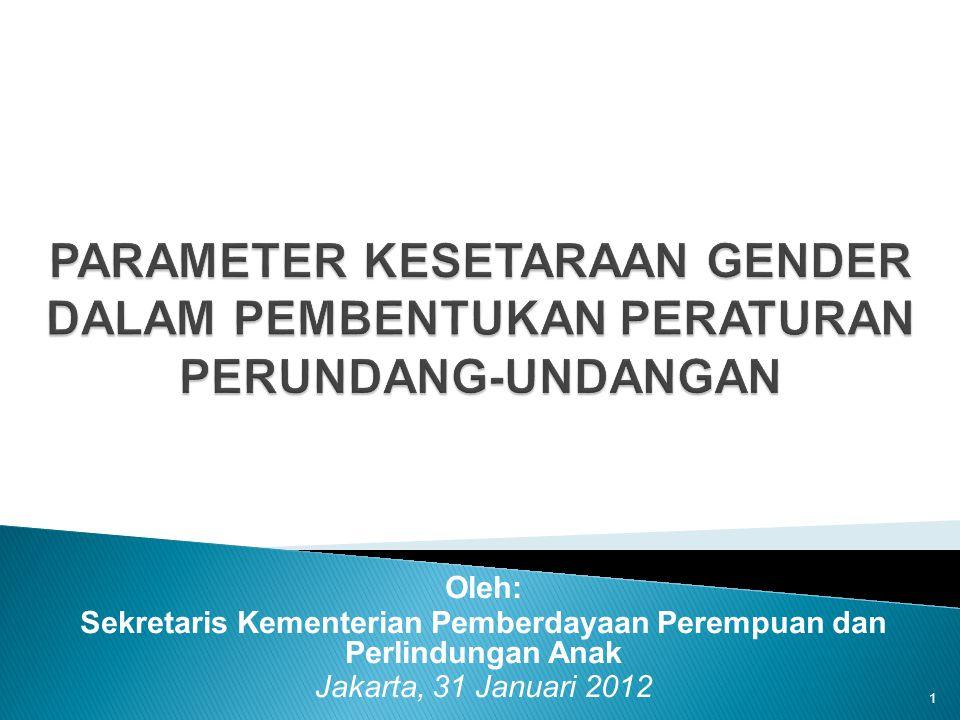 3.Sasaran Parameter Kesetaraan Gender dalam Pembentukan Peraturan Perundang-undangan 12 (i)Para pembentuk/yang berwenang menetapkan peraturan puu (ii)Perancang peraturan puu (legal drafters) (iii)Ahli dan praktisi hukum, akademisi, ormas, para legal dan profesi lain yang sejenis (iv)Para perumus dan pelaksana kebijakan, program, kegiatan publik dalam pembangunan nasional dan pembangunan daerah