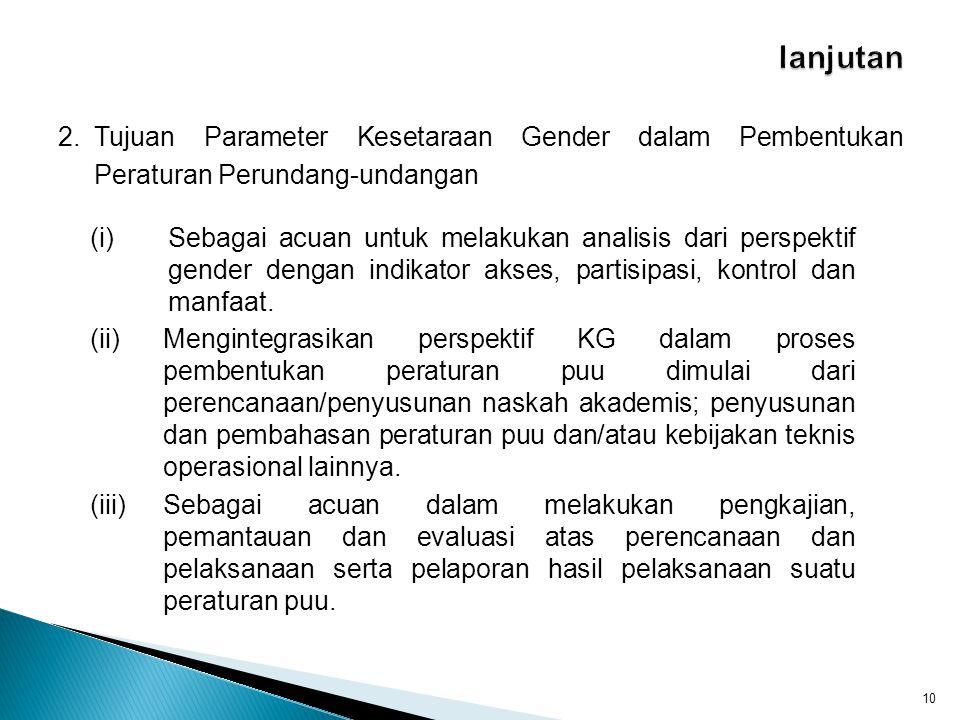 2.Tujuan Parameter Kesetaraan Gender dalam Pembentukan Peraturan Perundang-undangan 10 (i)Sebagai acuan untuk melakukan analisis dari perspektif gende