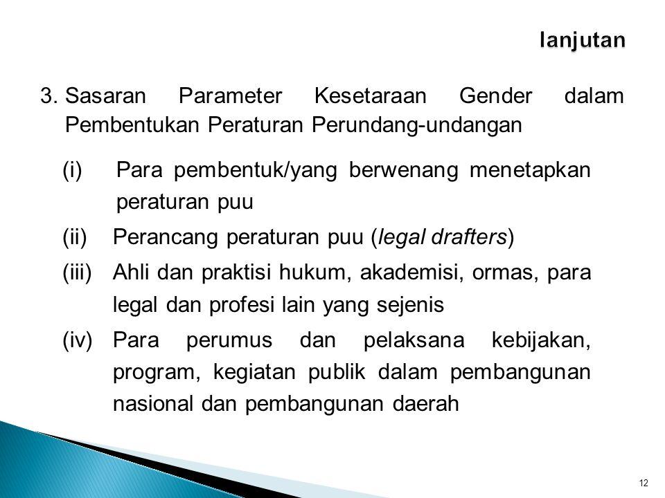 3.Sasaran Parameter Kesetaraan Gender dalam Pembentukan Peraturan Perundang-undangan 12 (i)Para pembentuk/yang berwenang menetapkan peraturan puu (ii)