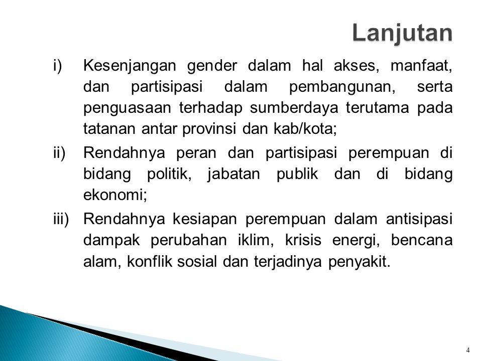 i)Kesenjangan gender dalam hal akses, manfaat, dan partisipasi dalam pembangunan, serta penguasaan terhadap sumberdaya terutama pada tatanan antar pro