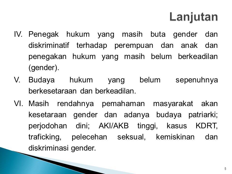 IV.Penegak hukum yang masih buta gender dan diskriminatif terhadap perempuan dan anak dan penegakan hukum yang masih belum berkeadilan (gender). V.Bud